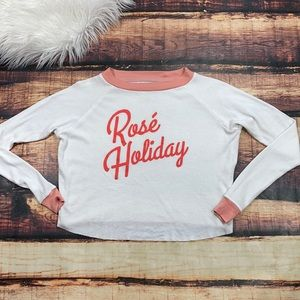 Rose Holiday Crop Top Thermal Tee Shirt